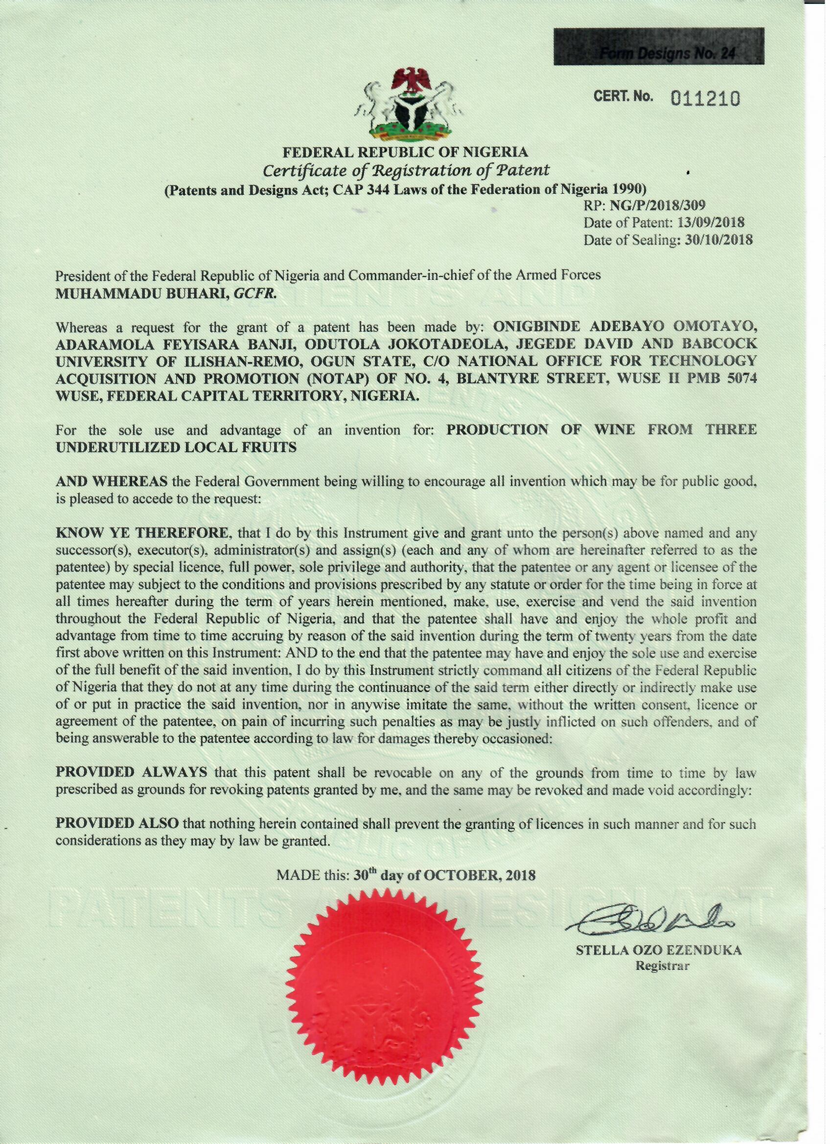 Babcock University Patent